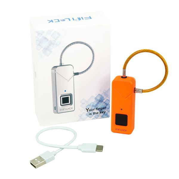 Schloss mit Fingerabdrucksensor Padlock Smart Keyless Lock Wasserdicht orange