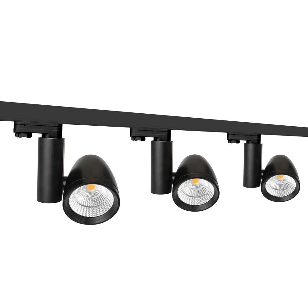 3 Ph Stromschienenset 2m mit Philips Fortimo LED Modul 3 Strahler 45 Grad schwarz 3600lm inkl. Reflektor, Adapter