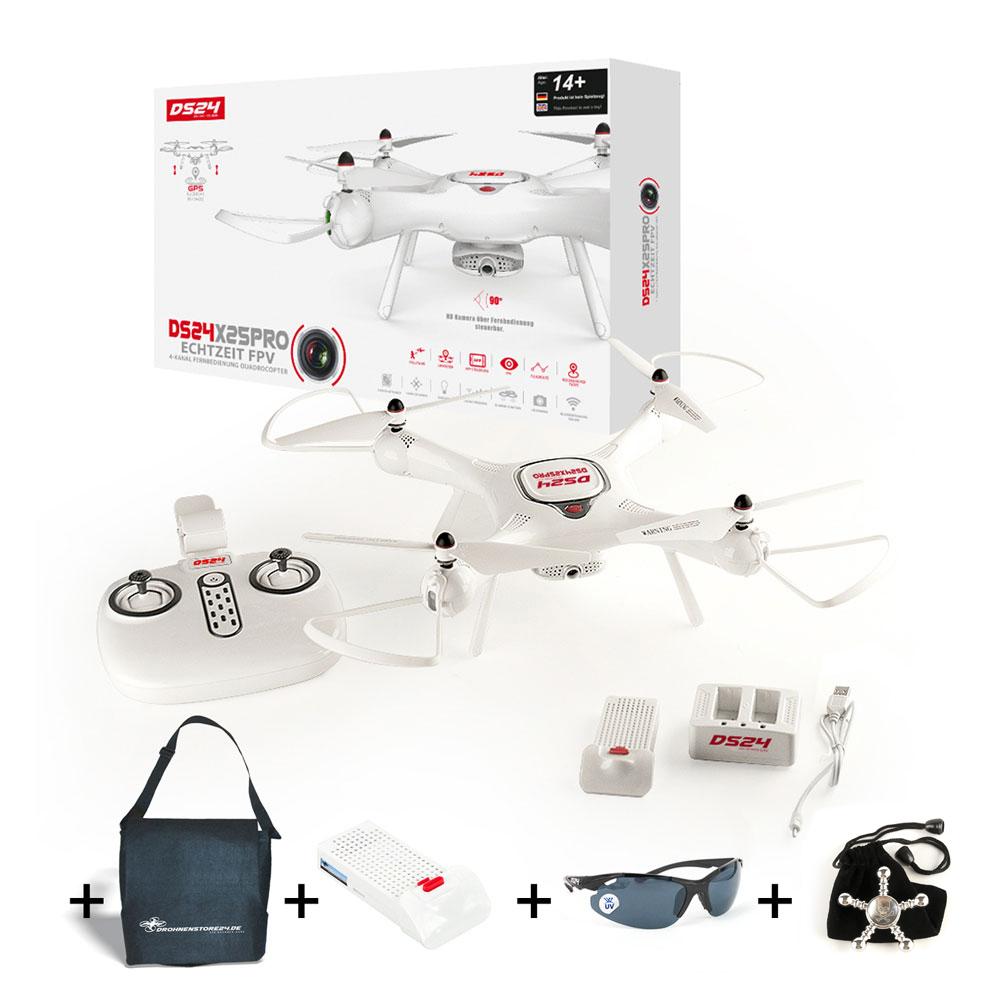 DS24 X25 Pro Drohne Holiday Full Set mit  Ersatzakku, Tasche, Sonnenbrille, Spinner