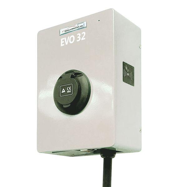 Ladegerät Wallbox EVO Serie 1 Phasig 230V 7.2kW 32A Typ 2 Steckdose weiss für Elektrofahrzeug Hybrid EV