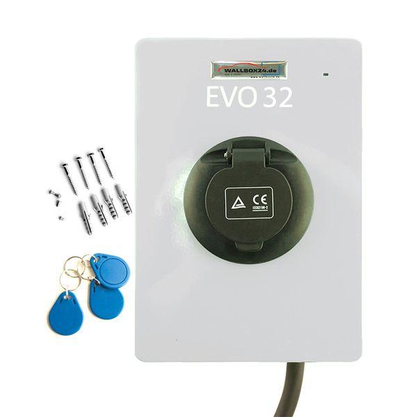 Ladegerät Wallbox EVO Serie weiss 1 Phasig 230V 7.2kW 32A Typ 2 Steckdose für Elektrofahrzeug Hybrid EV – Bild 2