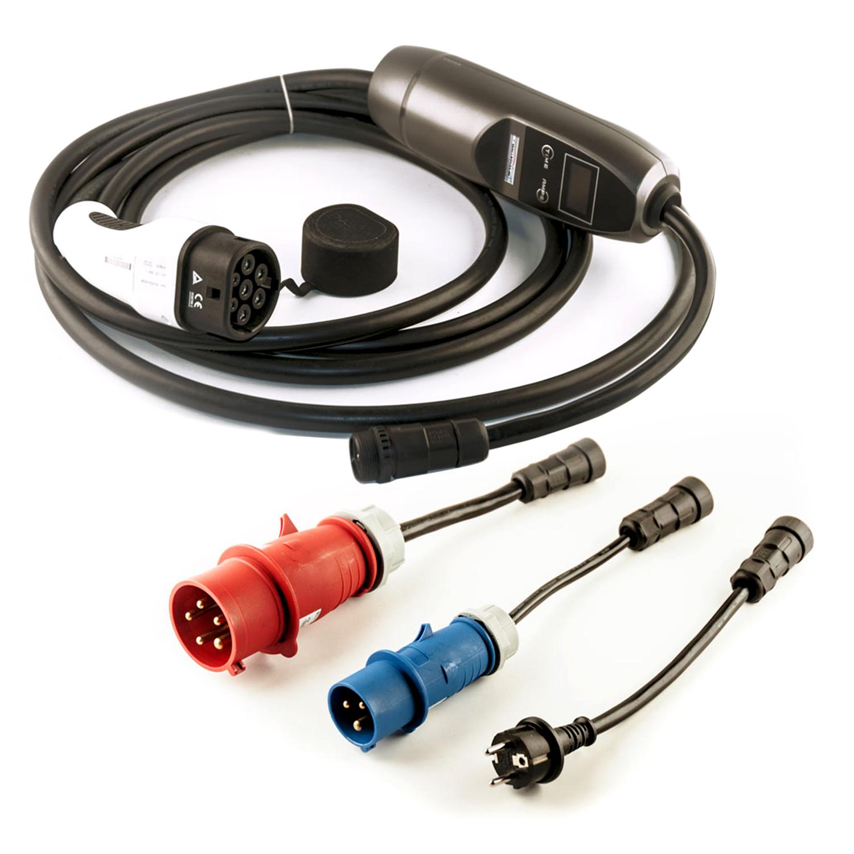 Ladegerät Wallbox tragbar KH Serie 1 Phasig inkl. 3 Adapter 230V 7,2kW 32A Typ 2 5 Meter mit einstellbarem Strom für Elektrofahrzeuge