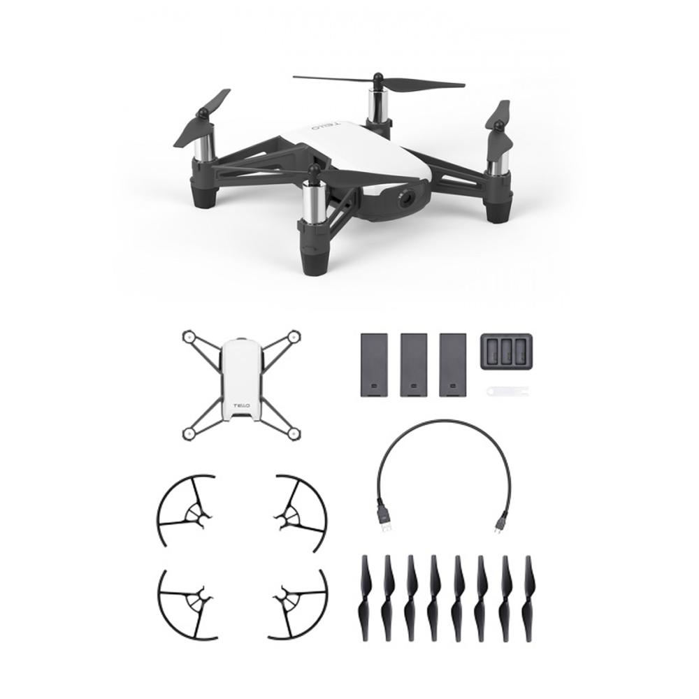 Ryze Tello Boost Combo Drohne mit 3 Akkus, Ladehub, Micro USB Kabel, Propeller und Propellerschutz