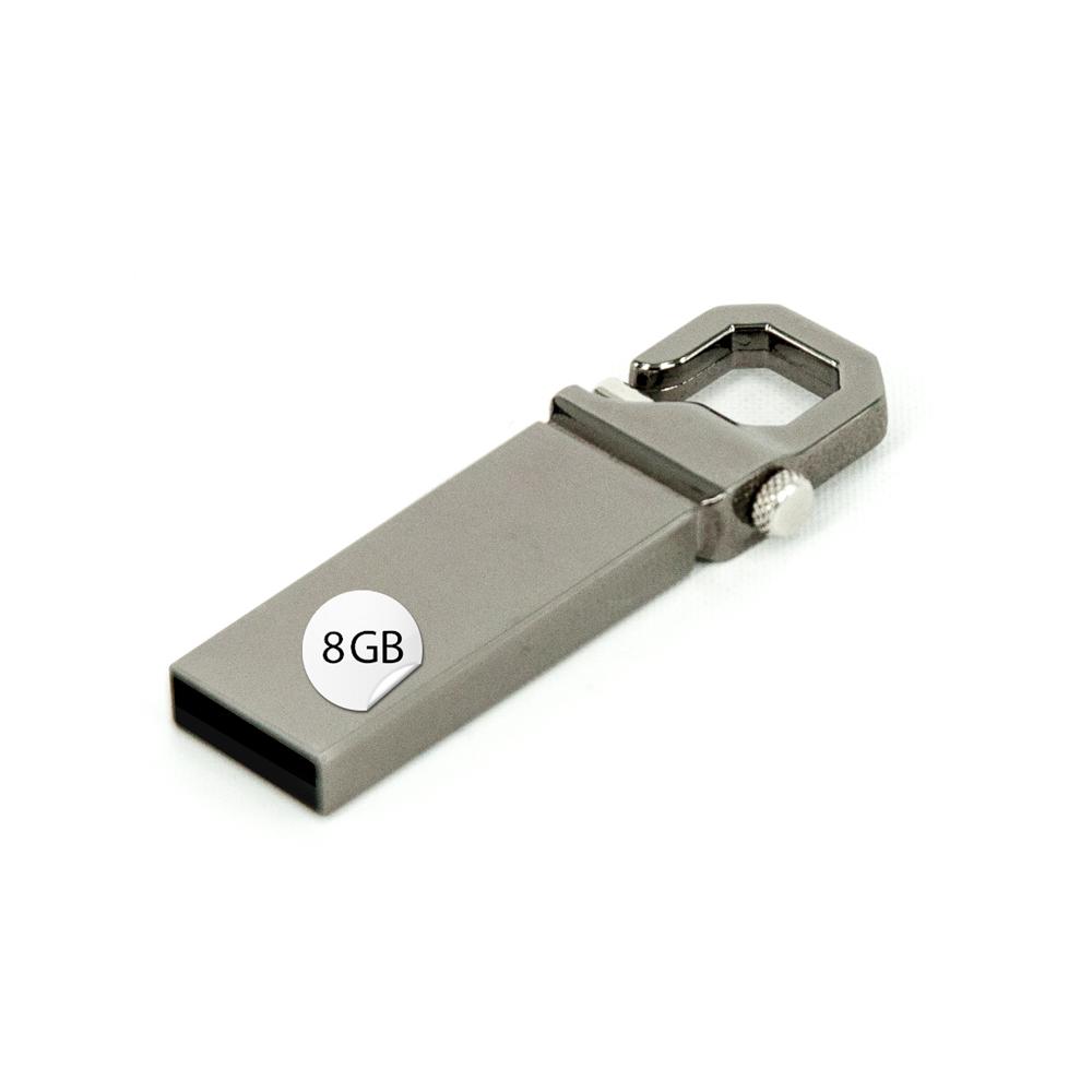 GADGET 8GB USB Stick Karabiner Metall Silber verchromt Datenspeicher