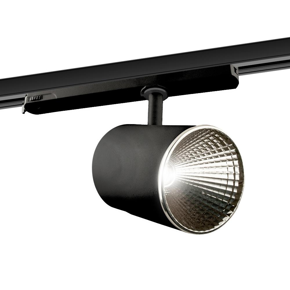 CLE LED 3 Ph Stromschienenstrahler ST174A Kopf schwarz inkl. FORTIMO SLM Modul 3600lm, Treiber, Adapter