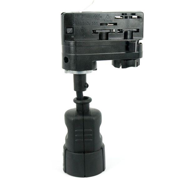 CLE 3-Phasen Stromschienenadapter mit Schuko Kupplung schwarz – Bild 1
