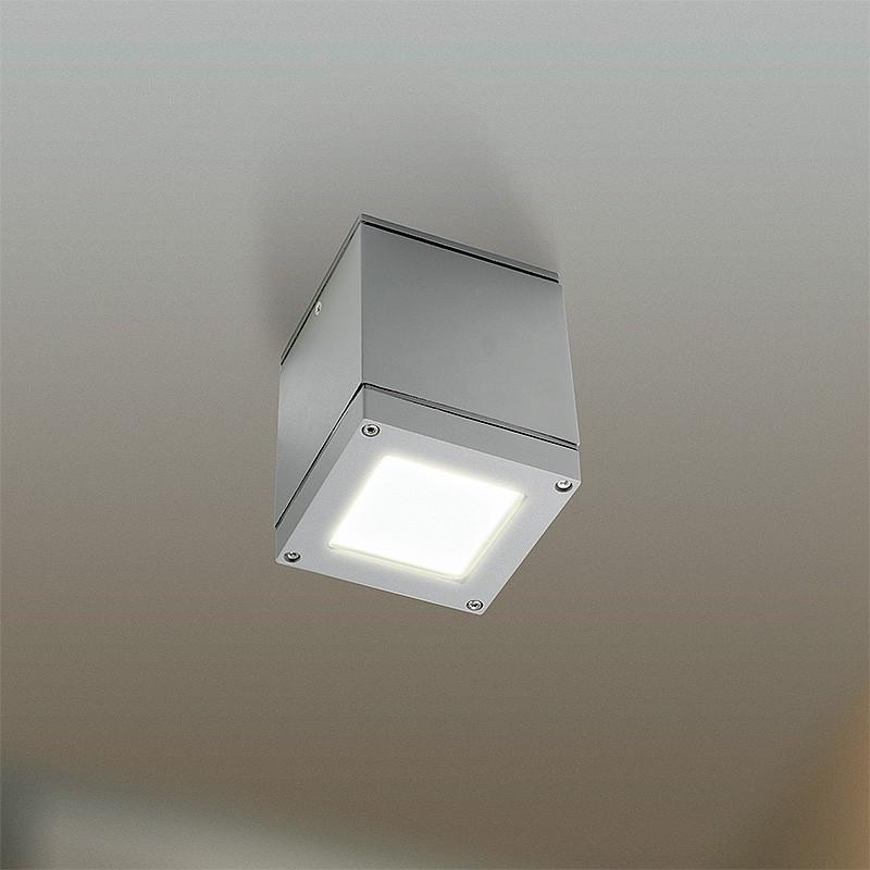 LED Cube Aufbauleuchte innen/aussen alu grau mit MASTER LEDluster 6W E27 P48 CL