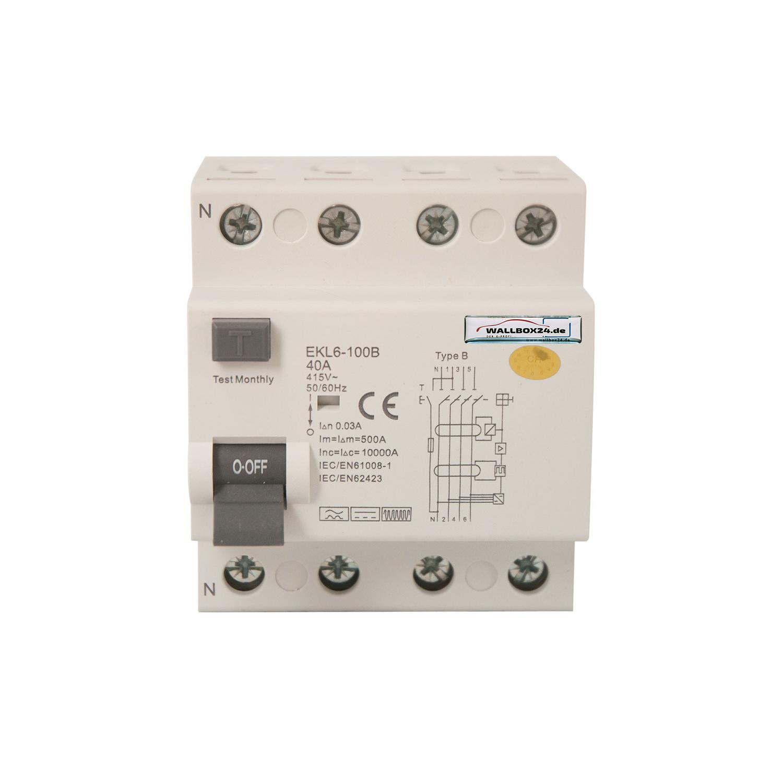 Wallbox24 Fehlerstromschutzschalter RCCB 40A 4-pol.Typ B Ladegerät Elektroauto Wallbox