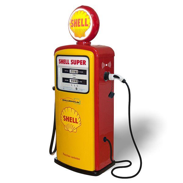 Wallbox24 Exklusive Retro original Shell Tanksäule mit Ladestation für Elektrofahrzeuge