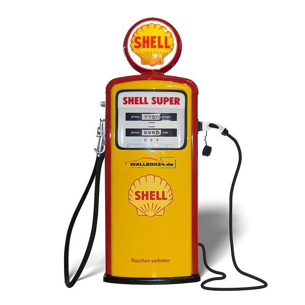 Wallbox24 Exklusive Retro original Shell Tanksäule mit Ladestation für Elektrofahrzeuge  – Bild 3