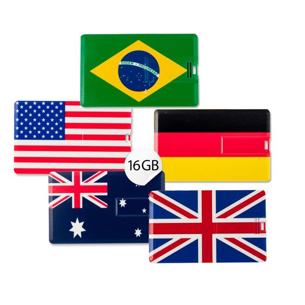 Speicherkartenset 5x 16GB in Scheckkartenform, 5er Set Flaggen der Welt USB Card