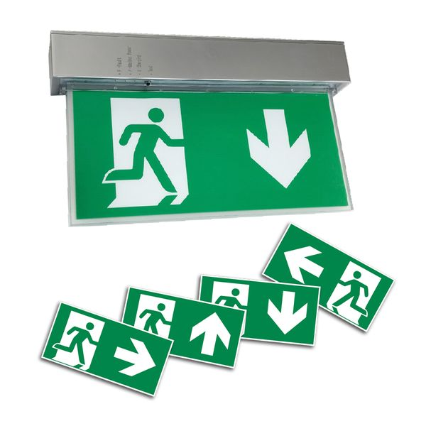 LED Rettungszeichenleuchte Notausgangsleuchte Fluchtweg 4 Piktogramme wechselbar