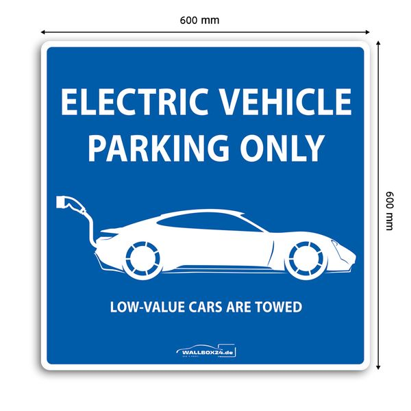 Wallbox24 Parkplatzaufkleber E-Fahrzeuge Nr. 1 selbstklebende Folie witterungsbeständig reflektierend Zubehör Elektromobilität