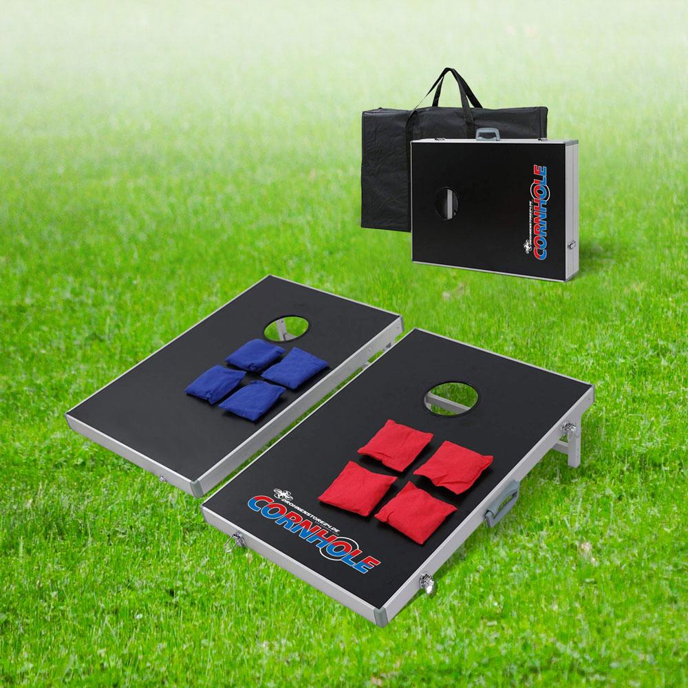 DS24 Cornhole Mega Trend Gartenspiel Board Set mit Tragetasche und 8 Bean Bags