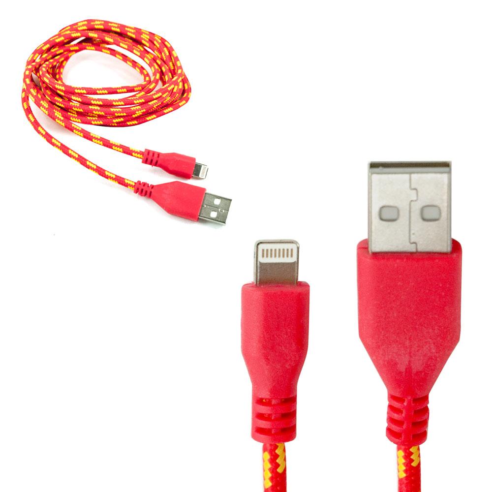 CLE Ladekabel z.B. für iPhone XS X 8 7 6 5 + iPad Lightning USB Nylon rot 2m