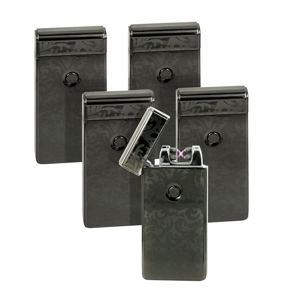 5x USB Feuerzeug Lighter 70084 Aufladbar inkl Ladekabel schwarz Lichtbogen