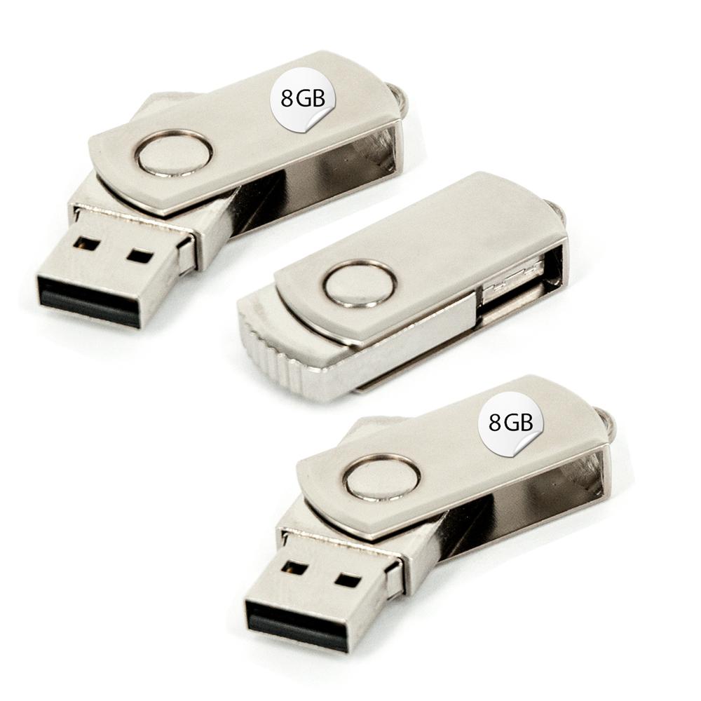 3x USB Stick 8GB Twister Silber 360° drehbar Gadget Datenspeicher