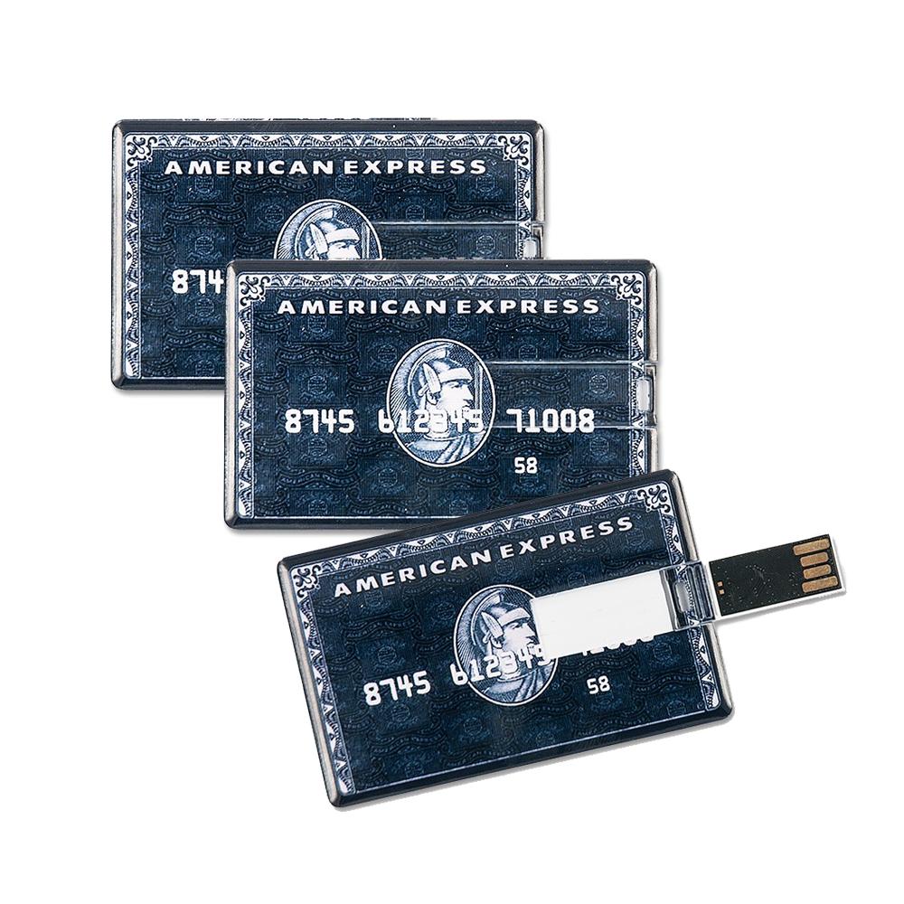 3x Speicherkarte 8GB Scheckkartenform American Express schwarz USB Datenspeicher