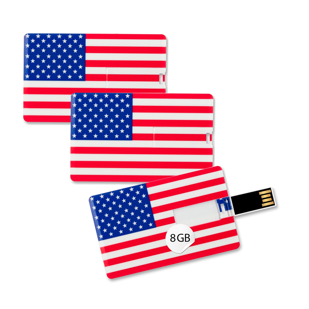 3x Speicherkarte 8GB Scheckkartenform USA Flagge USB Card Datenspeicher Gadget