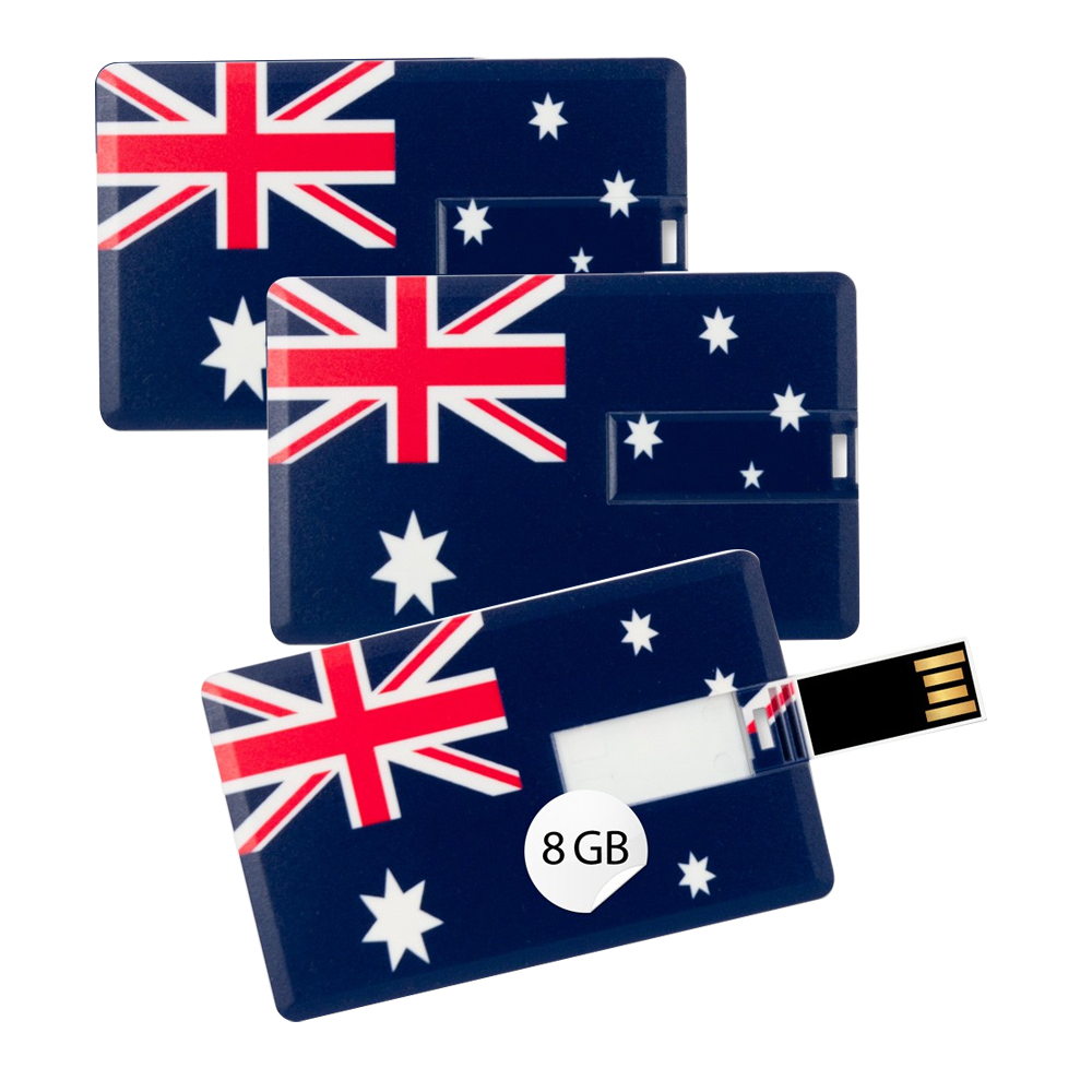 3x Speicherkarte 8GB Scheckkartenform Flagge Australien USB Card Datenspeicher