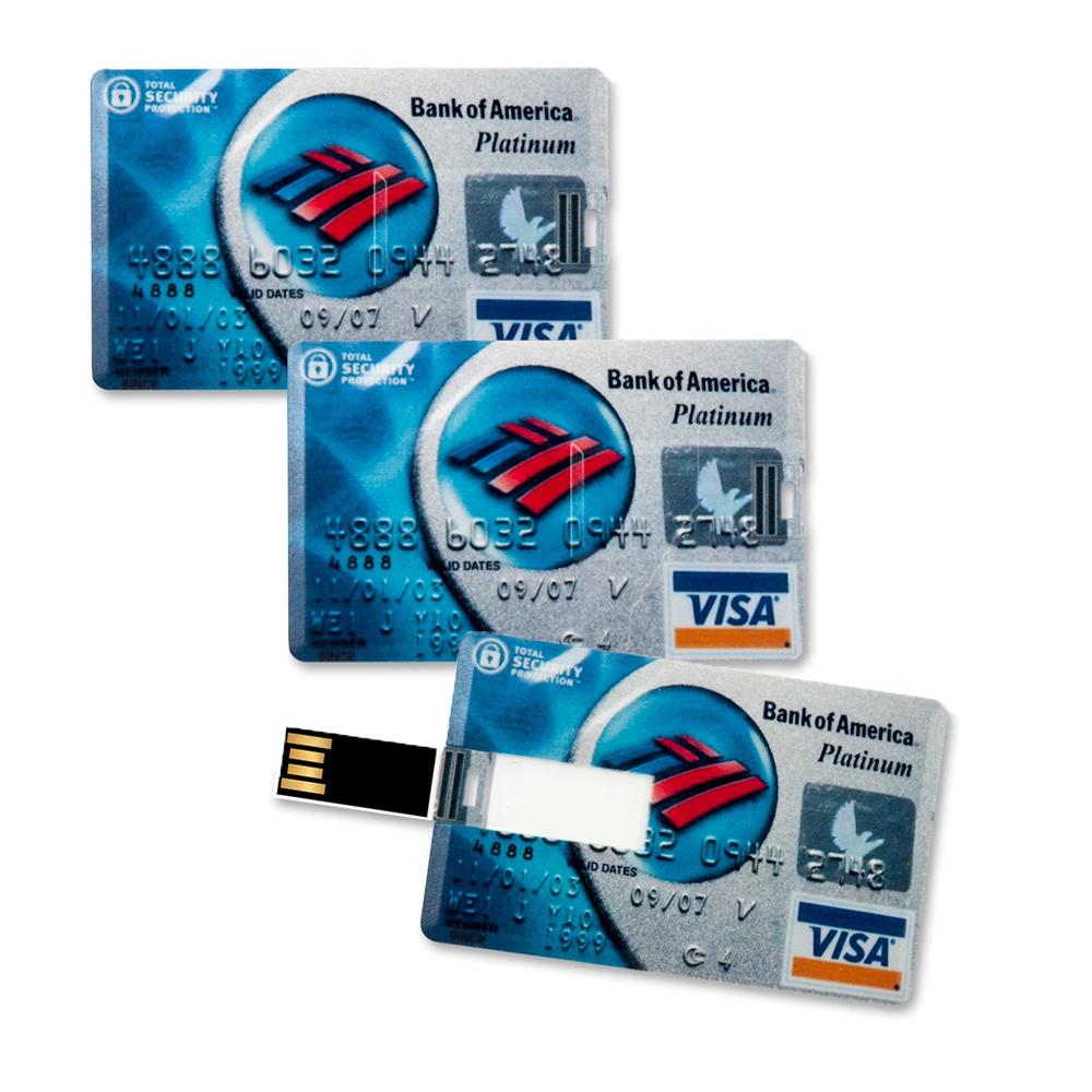 3x Speicherkarte 8GB in Scheckkartenform Bank of America Platinum Visa Card USB