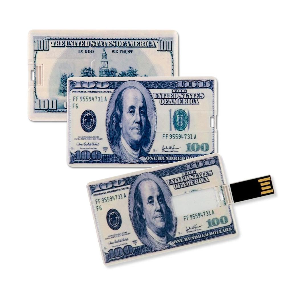 3x Speicherkarte 8GB Scheckkartenform 100 Dollar Banknote USB Datenspeicher Gadget