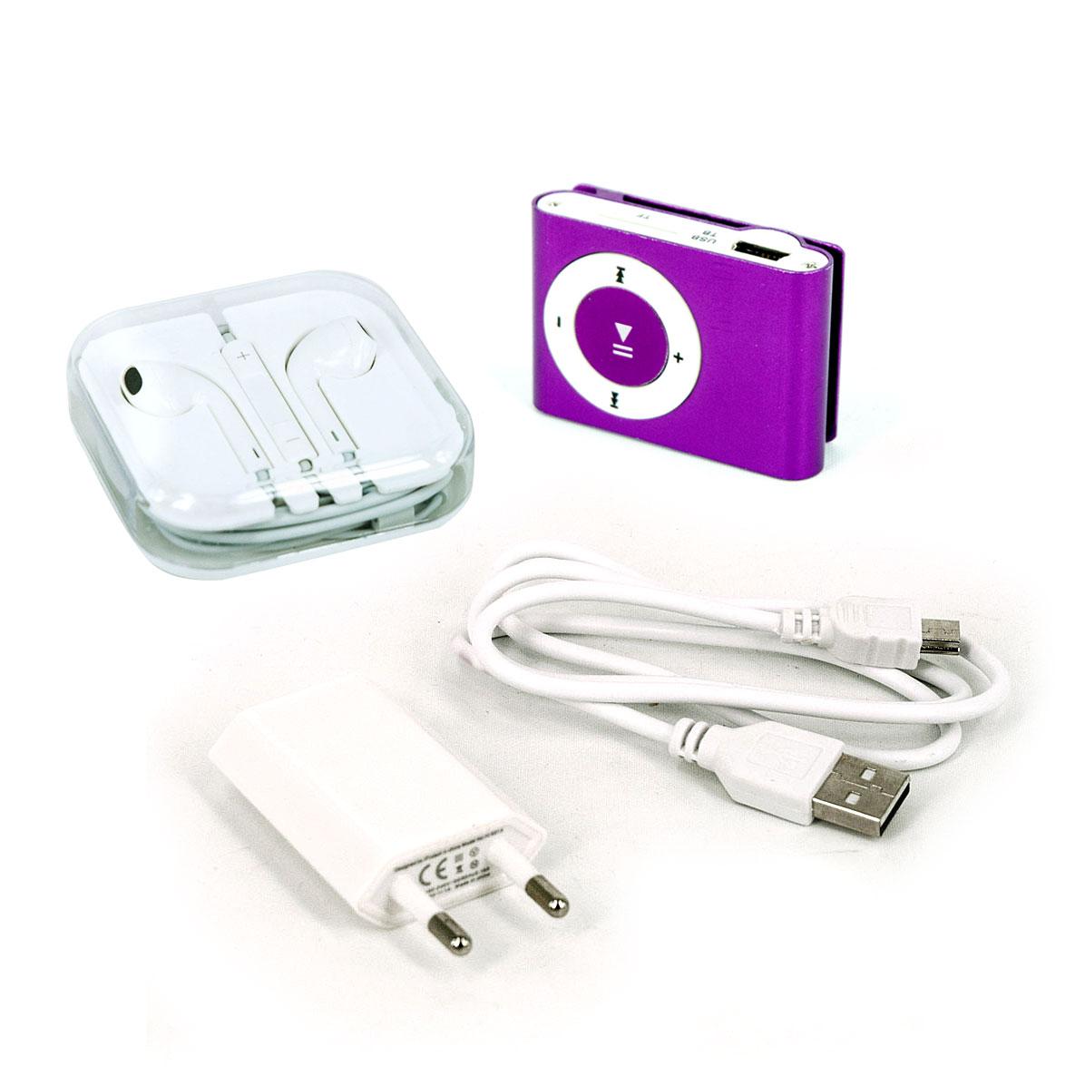 iProtect Mini Clip MP3 Player, In-Ear-Kopfhörer, Slimcharger, Ladekabel lila