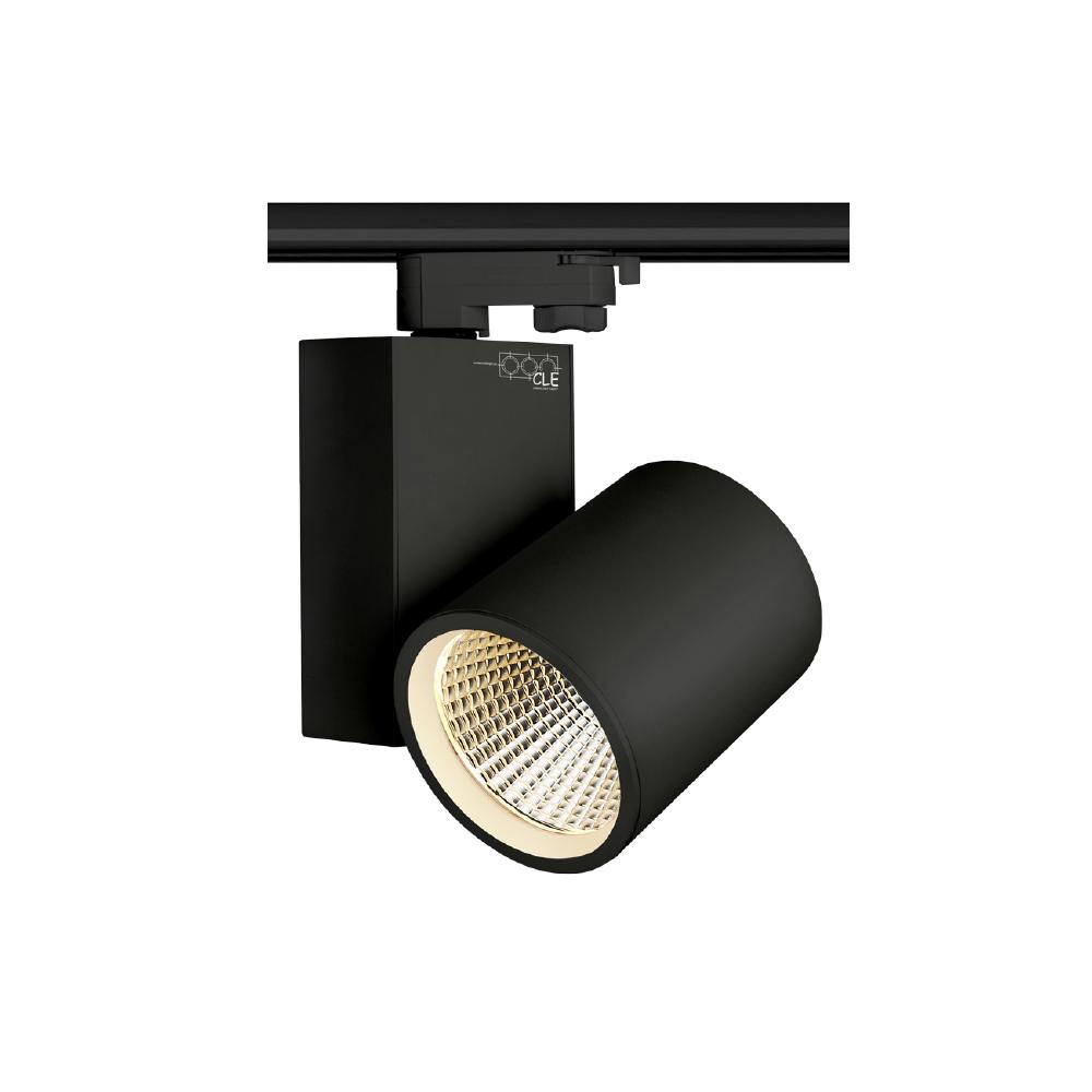 CLE LED 3 Ph Stromschienenstrahler schwarz 30W 3000 Lumen, Profi Shoplight