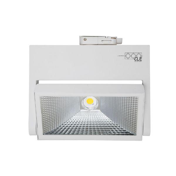 CLE FLOOD LED 3 Ph Stromschienenstrahler weiss 38W 3800 Lumen Breitstrahler Profi Shoplight