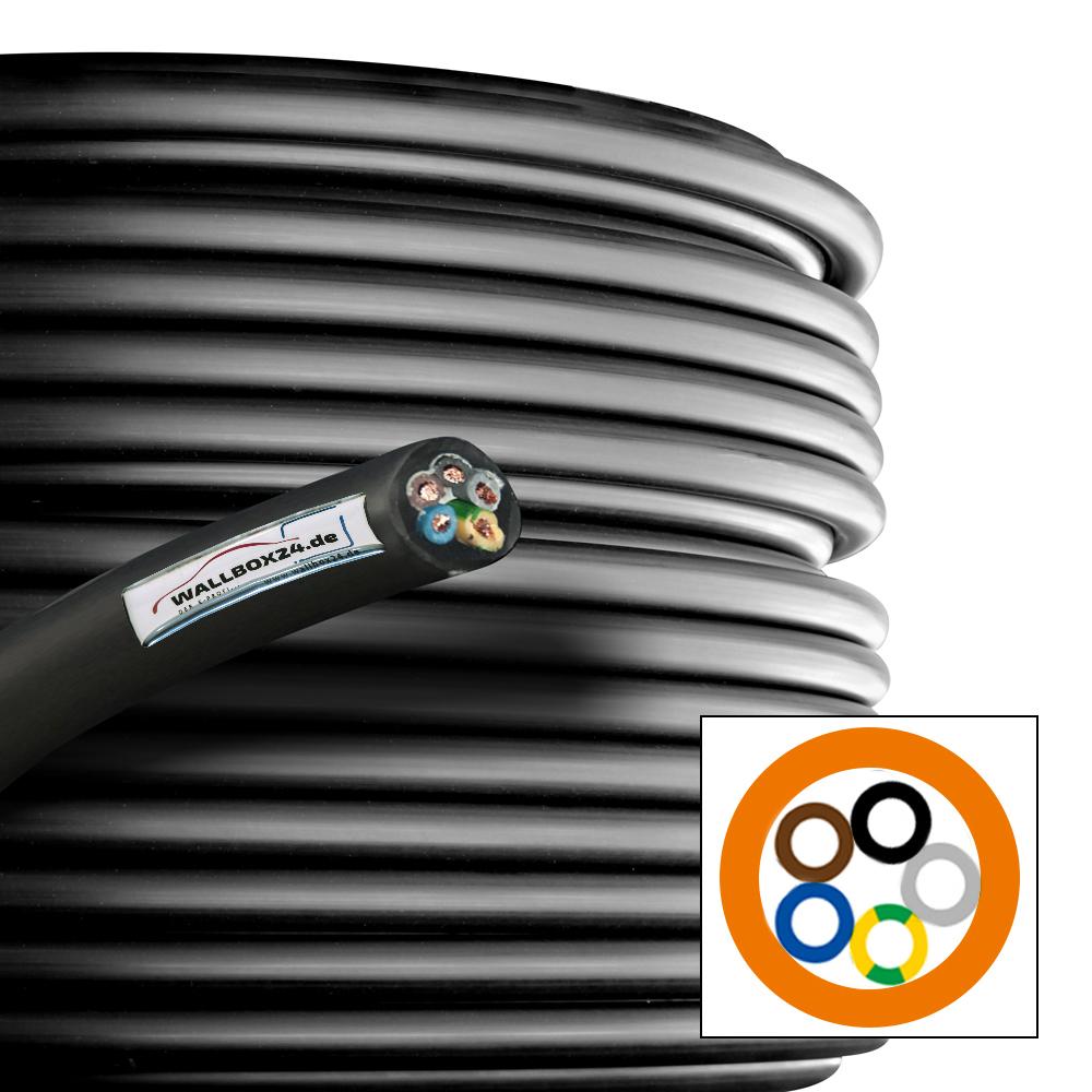 Wallbox24 Gummikabel 5 x 4qmm Meterware 450/750V extrem belastbar schwarz