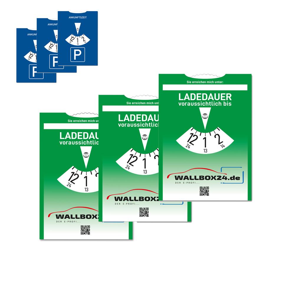 Wallbox24 3er Pack Papp Parkscheibe Ladedauer einstellbar Zubehör Elektromobilität