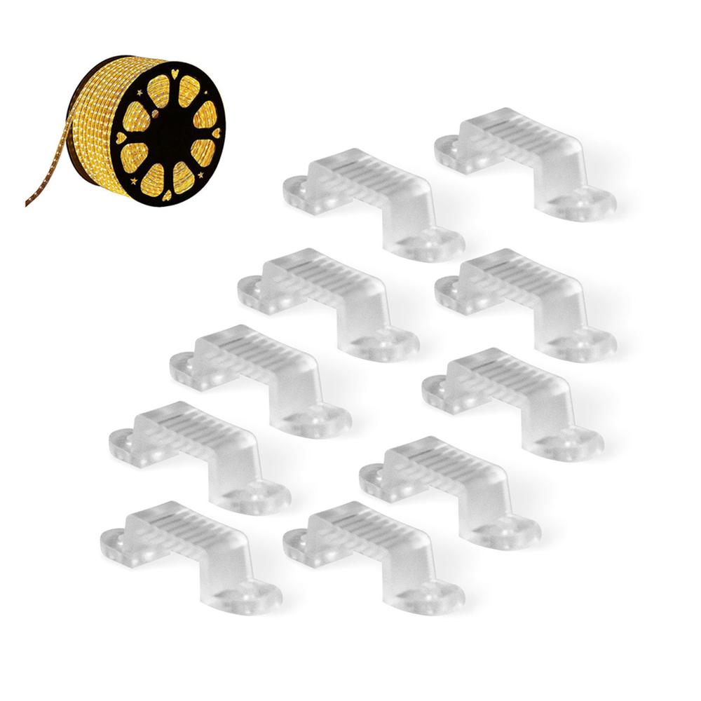 10er Pack CLE Befestigungs Clips für LED Stripe Schlauch 50m 230V 5050 LEDs weiß