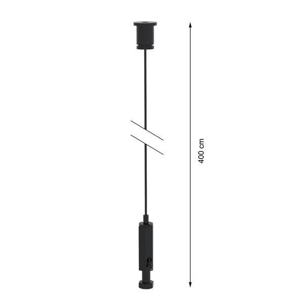 CLE Stahlseilabhänger 4,00m für Profi 3 Ph. Stromschienen schwarz