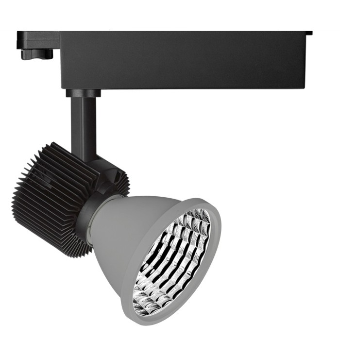 CLE  LED 3 Ph Schienenstrahler SHUTTLE mit Philips FORTIMO SLM 3600lm dimmbar ZigBee 3.0 alugrau