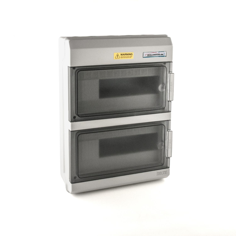 Wallbox24 Leergehäuse zweireihig Kunststoff grau IP66 Ladestation Ersatzteil Zubehör Elektromobilität