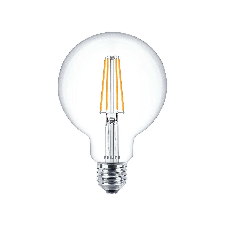 Philips Classic LEDglobe D7,2 Ersatz für 60W G95 E27 827 CL klar FIL DIM 806lm dimmbar 2700K warmweiß extra