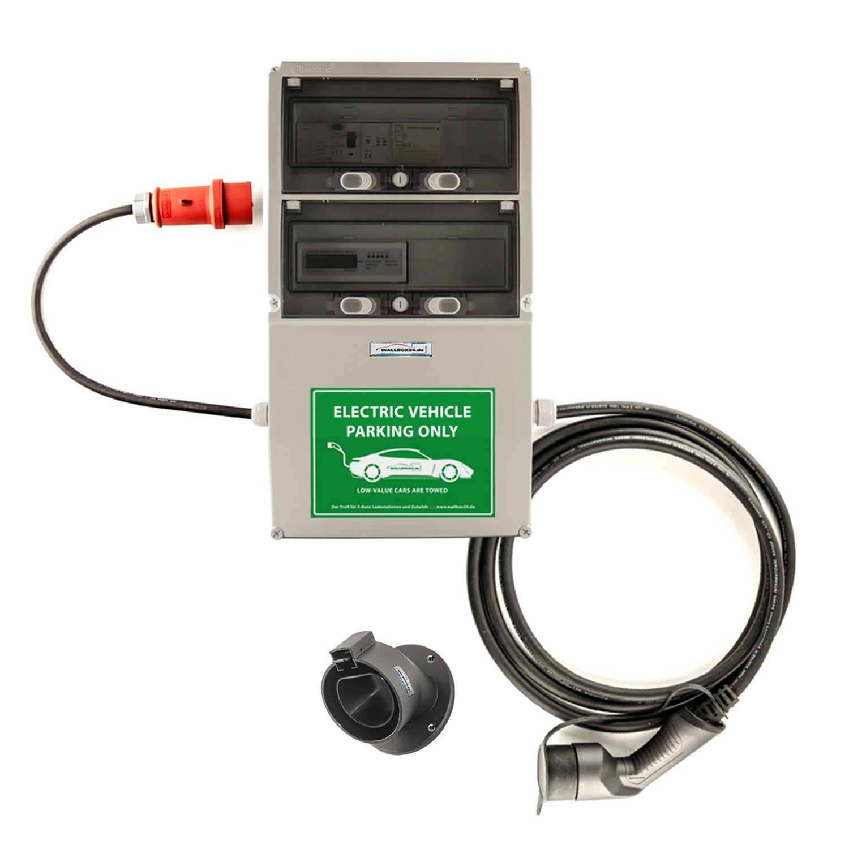 WB24 Wallbox 3Ph 400V 11kW 16A Typ 2 5m Ladestation mit geeichtem Stromzähler und Bluetooth für Elektro-/Hybridautos