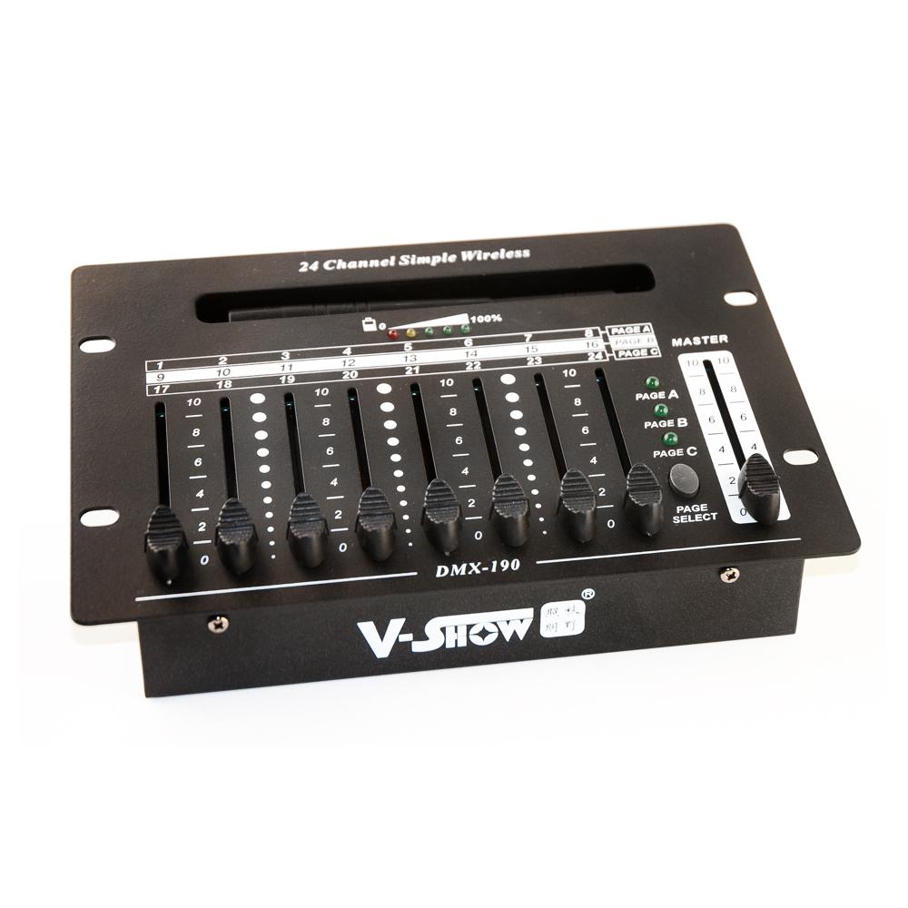 CLE Mischpult DMX Controller akkubetrieben aufladbar 24 Kanäle für LED-Akkustrahler kabellos