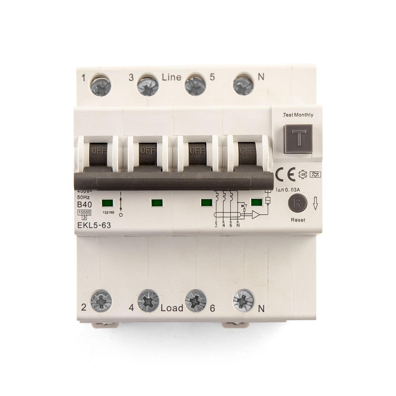 Wallbox24 Fehlerstromschutzschalter RCBO 40A 4-pol.Typ A mit Überstromschutz