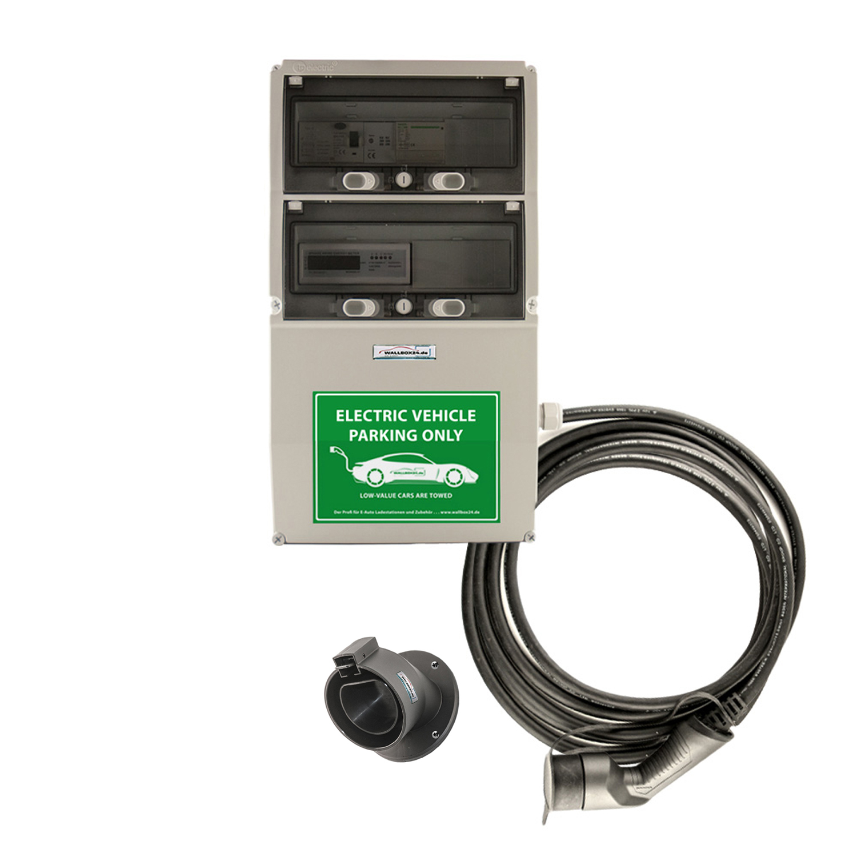 WB24 Wallbox 3 Phasig 400V 22kW 32A Typ 2 7m Ladestation mit Stromzähler für Elektro-/Hybridautos