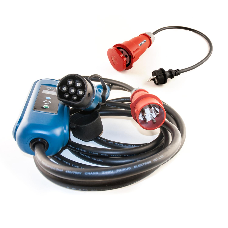 Wallbox24 Ladegerät tragbar 3 Phasig CEE Stecker 400V 11kW 16A Typ 2 5 Meter plus Schuko Adapter
