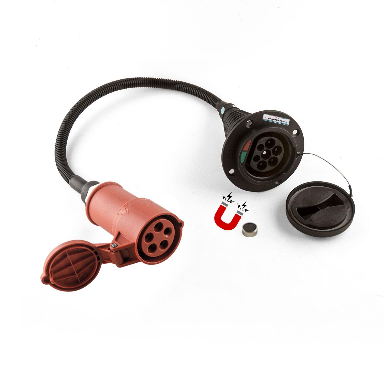 Wallbox24 Adapterkabel 3 Ph 400V 11kW Kupplung Typ 2 auf CEE 5 Pol mit Magnetfreischalter