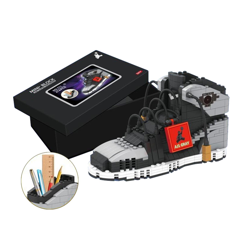 DS24 Basketball Sneaker aus Bausteinen Grau Schwarz DIY Montage Sportschuh Brick Stiftbehälter