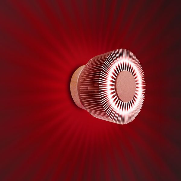 Gaga Lamp Design ALUTEC Wandleuchte King Cross small 25W 230V alu grau Glas rot