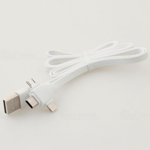 cellePhone Data cable 3 in 1 for iPhone - Micro-USB - USB-C - 1M - white