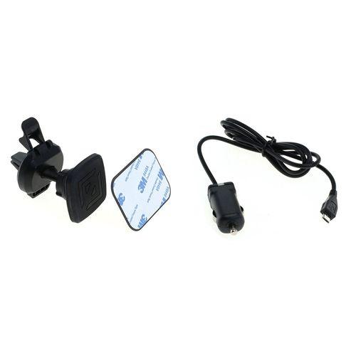 cellePhone Magnet Lüftungsschlitze KFZ-Halterung + Drehgelenk für Smartphone inkl. 2x magnetische Metallplatten + KFZ-Ladekabel Micro-USB 2,4A - 5V