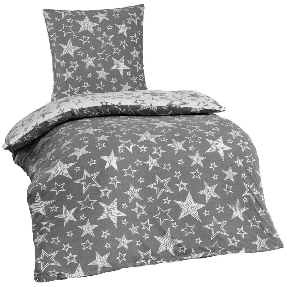 2 tlg hochwertige microfaser bettw sche 135x200 kissenbezug 80x80 graue sterne bettw sche 135x200. Black Bedroom Furniture Sets. Home Design Ideas