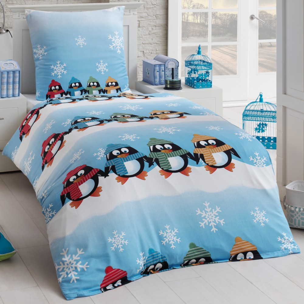 tolle kinder bettw sche microfaser biber flanell 135x200 winter pinguin kissenbe ebay. Black Bedroom Furniture Sets. Home Design Ideas