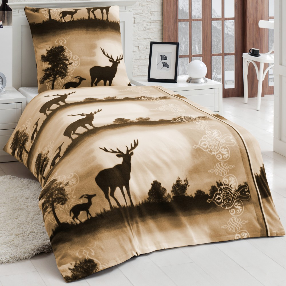 microfaser fleece winter bettw sche kuschel weich 135x200 kissenbezug hirsch bettw sche 135x200. Black Bedroom Furniture Sets. Home Design Ideas
