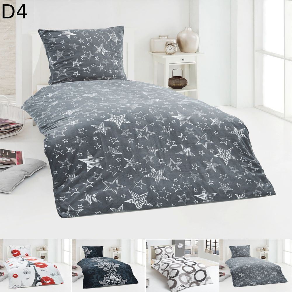 warme winter microfaser flausch fleece bettw sche 135x200 155x220 200x200 ebay. Black Bedroom Furniture Sets. Home Design Ideas